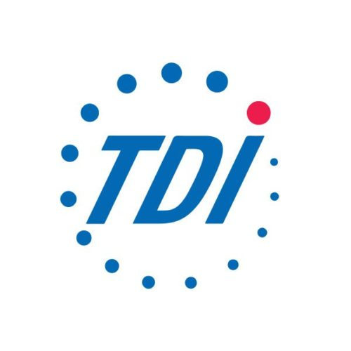 Blue and pink TDI logo