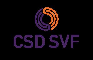 Orange and purple CSD SVF logo