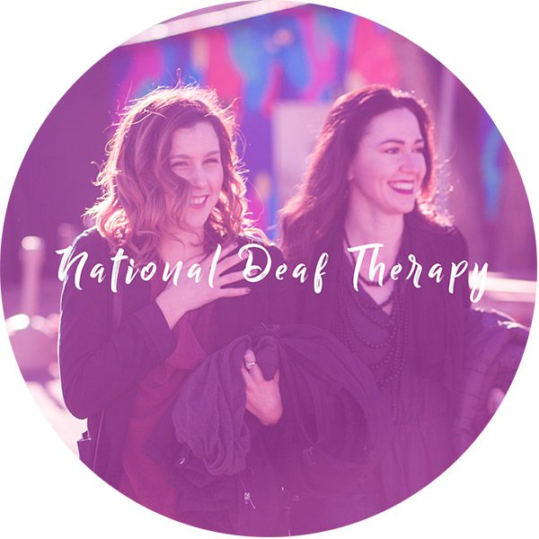 National Deaf Therapy founders with National Deaf Therapy logo overlay