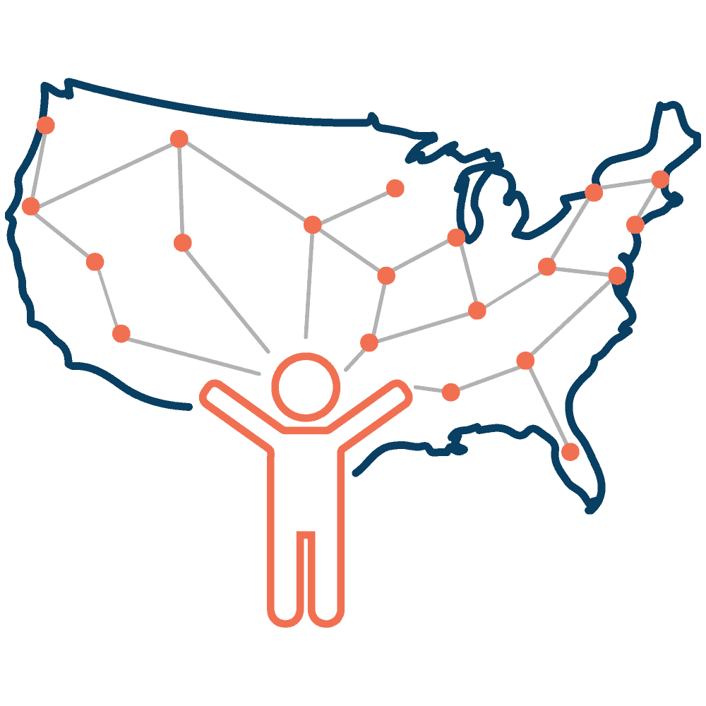 Illustration of a person standing in front of a map of the United States