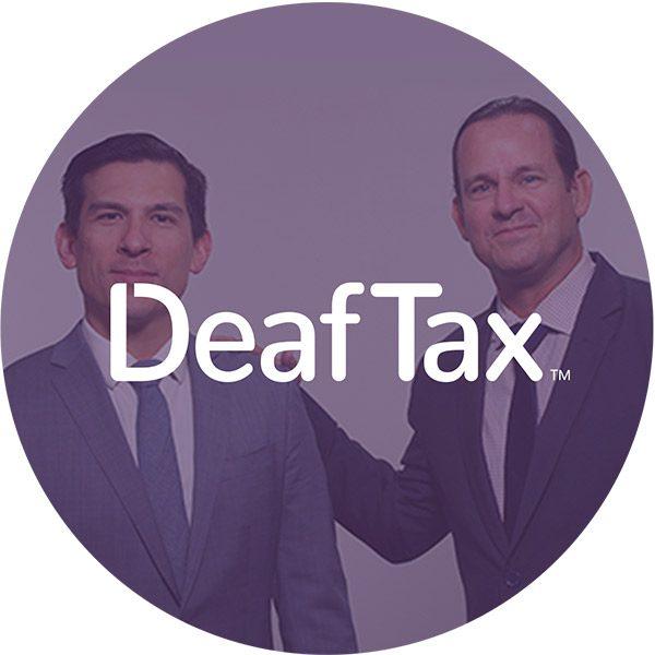 DeafTax founders with Deaftax logo overlay