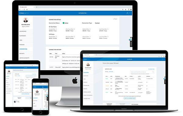 Cellphone, Tablet, Laptop, and Desktop showing Vineya's homepage