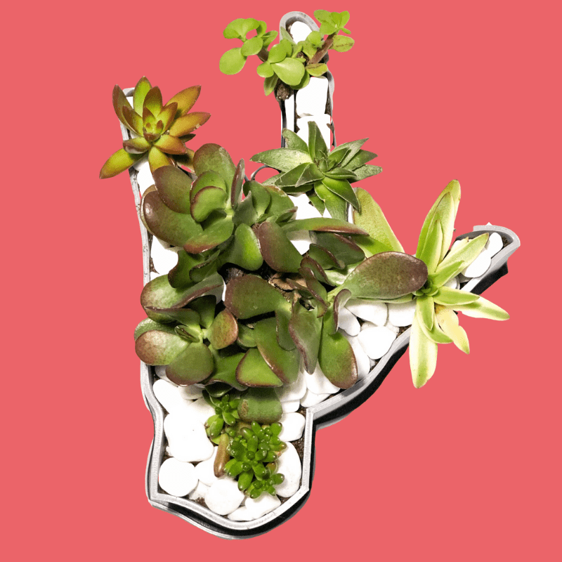 Plant holder in the shape of the I Love You sign