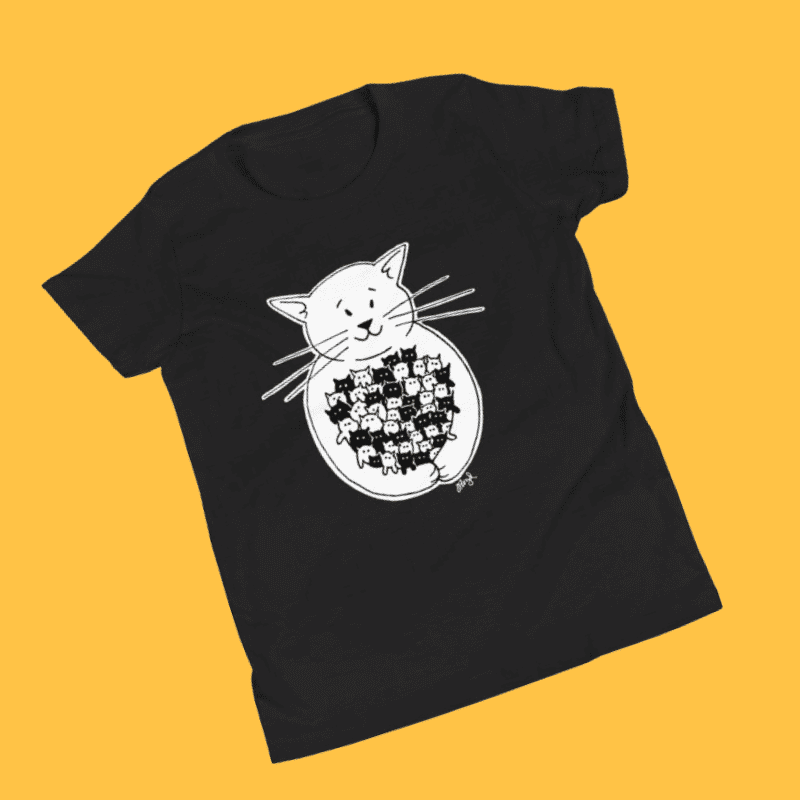 Tshirt with a cat hugging kittens