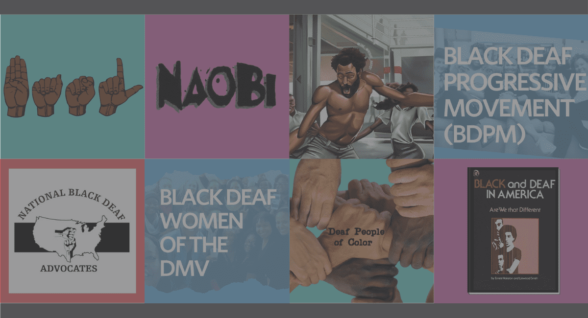 Collage of online Black deaf communities