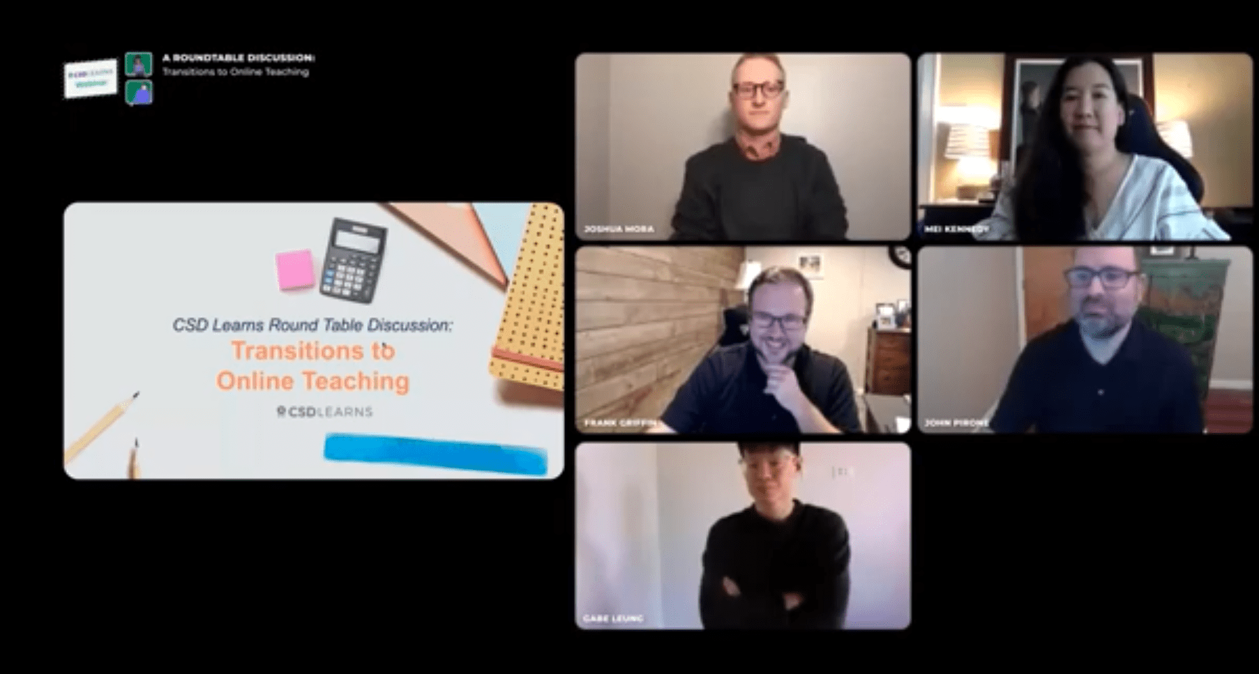 Webinar panelists in a Zoom session