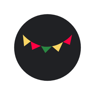 Black circle with a string of yellow, red and green flags