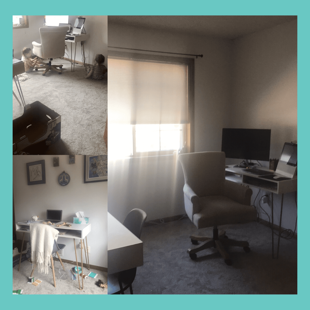 Collage of a person's home office