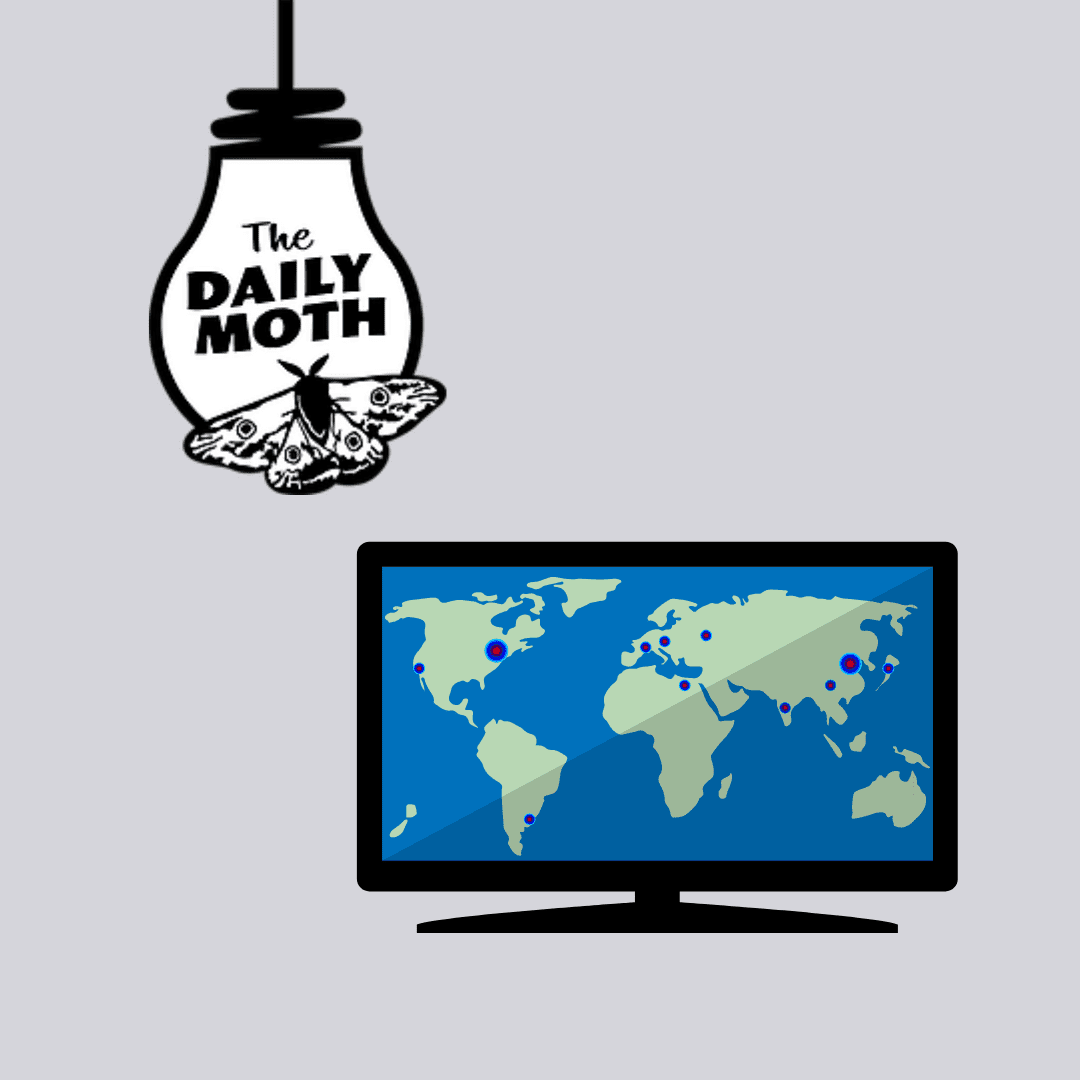 Daily Moth Logo and a monitor with a world map