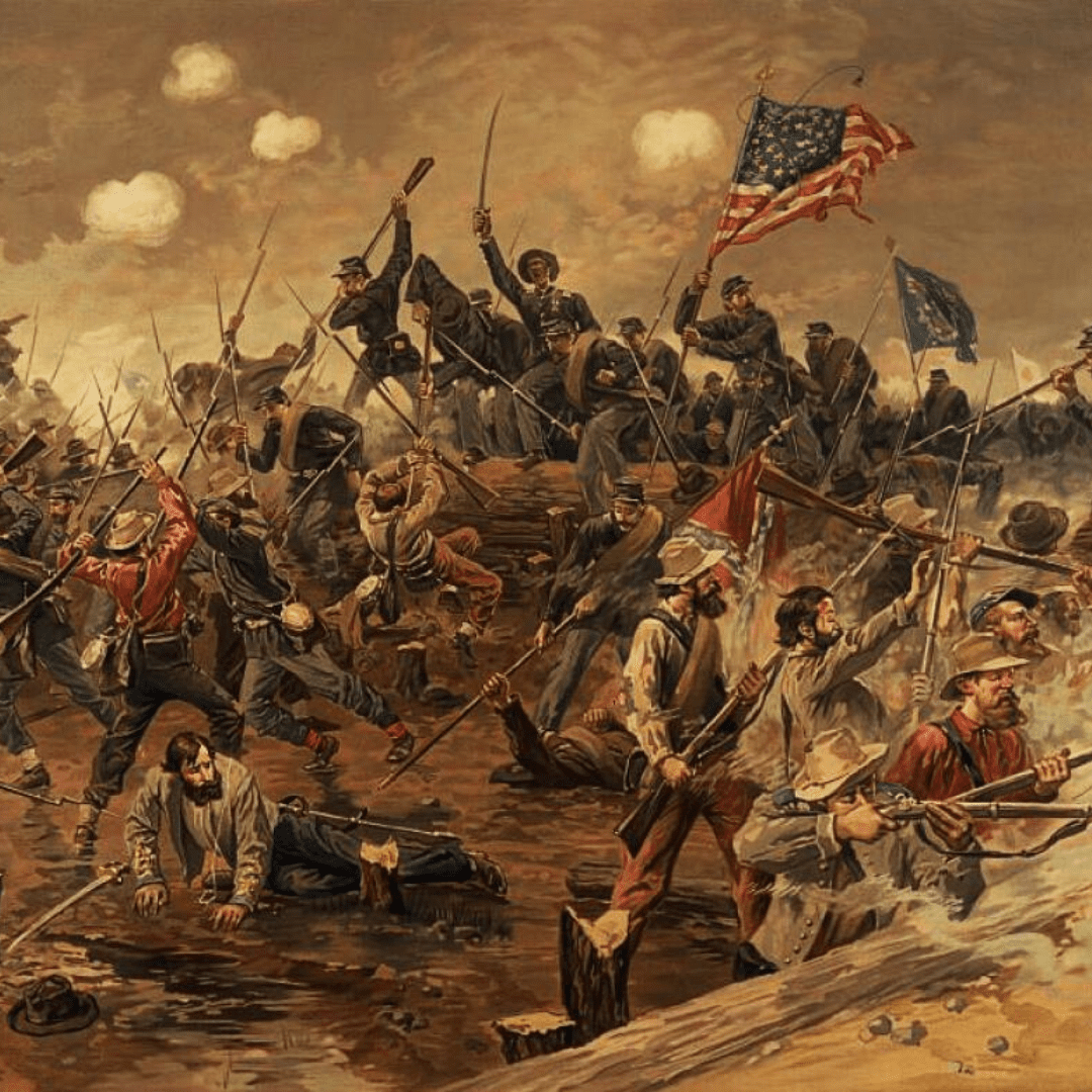 Painting of a Battle from the Civil War