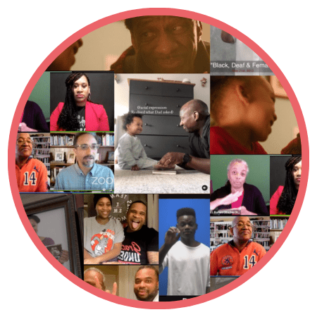 Collage showing Black deaf families, creators, and events
