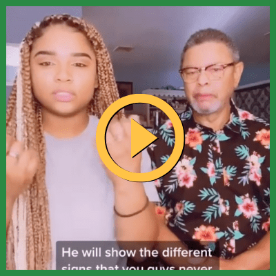 A Black woman and man signing into the camera